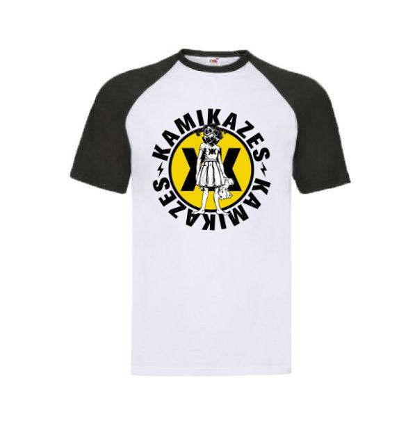 Camiseta blanca mangas negras logo kamikazes